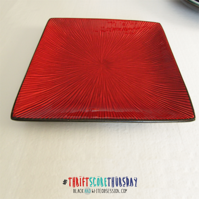 #thriftscorethursday Week 5 | Glass Obsession, Red Starburst Textured Square Plate