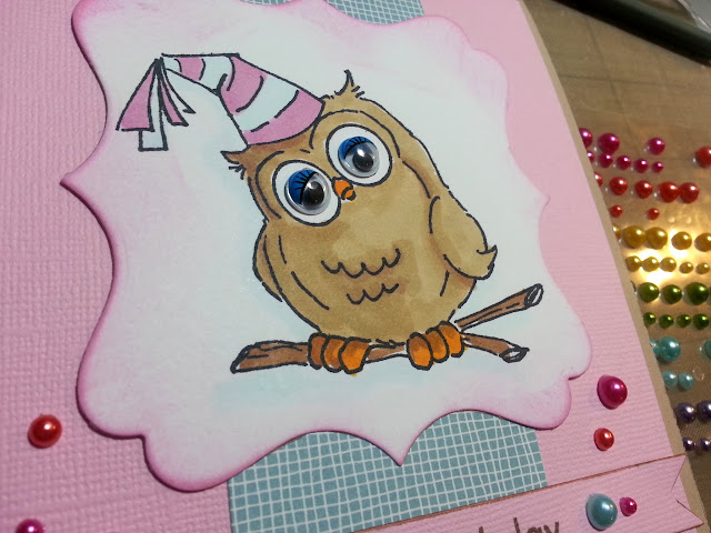 Whoots owl birthday card copics