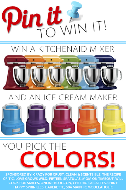 Pin it to win it! Win a Kitchen Aid Mixer and Ice Cream Maker from www.crazyforcrust.com