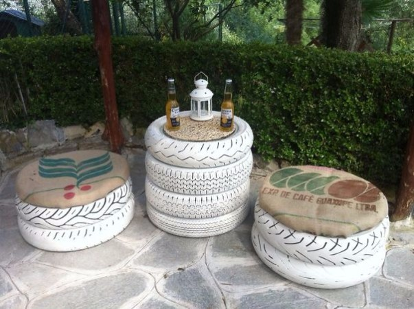 recycle craft with old tyres for your garden & home