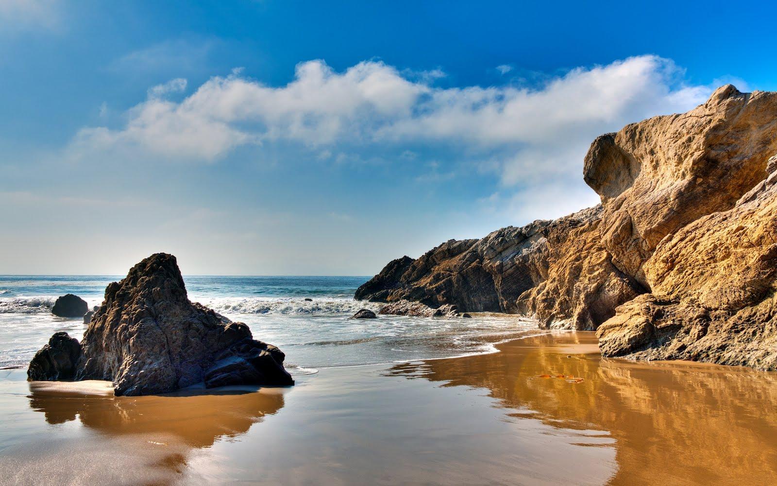 Banco de im genes gratis hermosa playa con arenas blancas y rocas marr n - Playa wallpaper ...