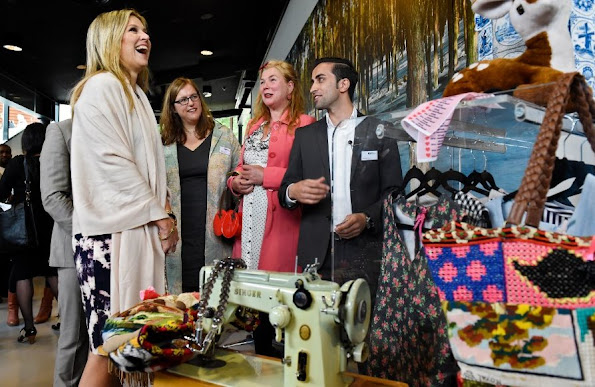 Queen Maxima of The Netherlands visited the refugee assistance Foundation in Driebergen,