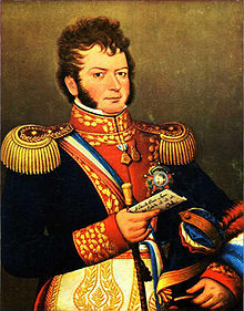 A portrait of Chile's founding father, Bernardo O Higgins in military rig-out