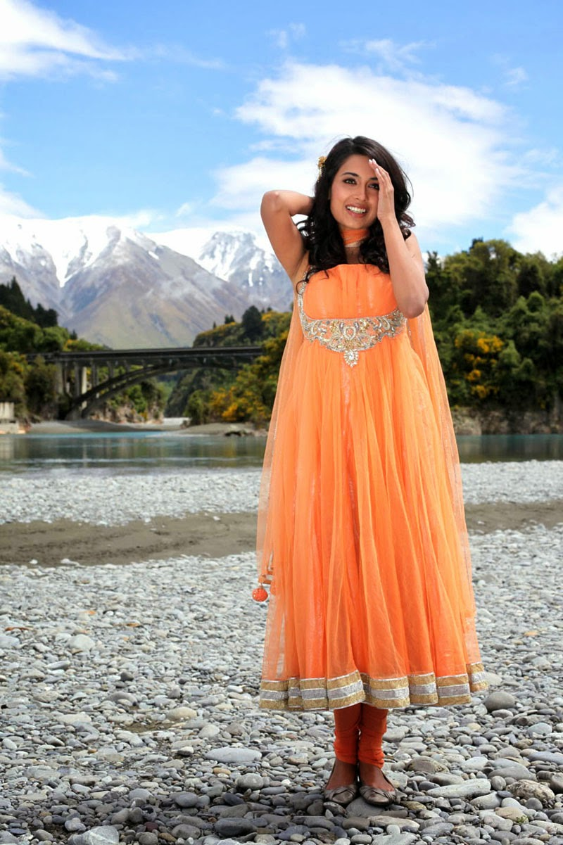 Sarah Jane Dias Hot in orange punjabi dress sliped
