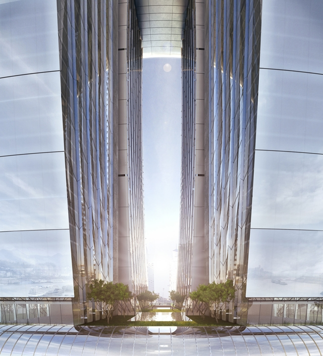 Photo showing the gap between two skyscrapers
