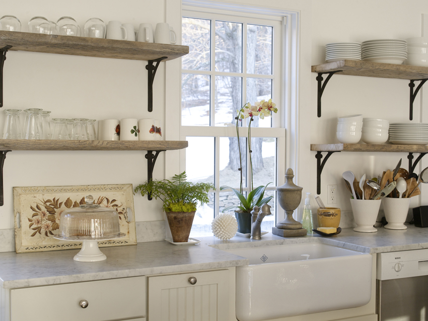Refresheddesigns trend to try open shelving in the kitchen for Shelving in kitchen