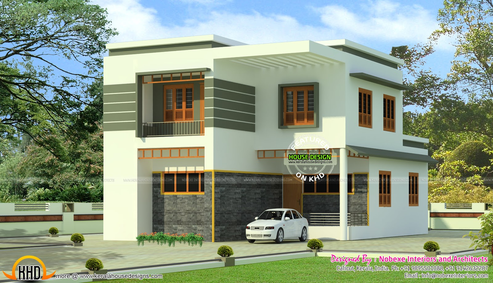 4 bhk modern flat roof home in 2160 sq ft kerala home Contemporary flat roof designs