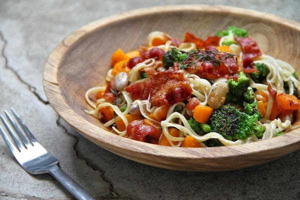 pasta with butternut squash, broccoli and cranberry beans