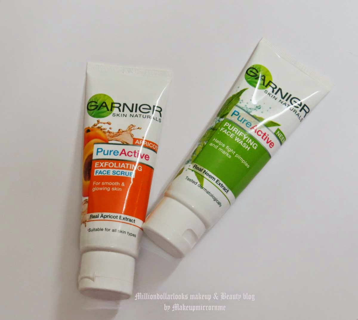 Garnier Skin Naturals Pure Active Summer Cleansing 'Twice as Nice' Combo Pack Review & Pictures, Indian makeup and beauty blog, Indian makeup blogger, Indian beauty blog, Best affordable face wash for dry skin type, Best affordable face scrub for all skin type, Garnier Pure active review, Garnier pure active twice as nice combo review, neem face wash review, Garnier apricot face scrub review
