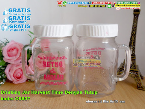 Drinking Jar Harvest Time Dengan Tutup