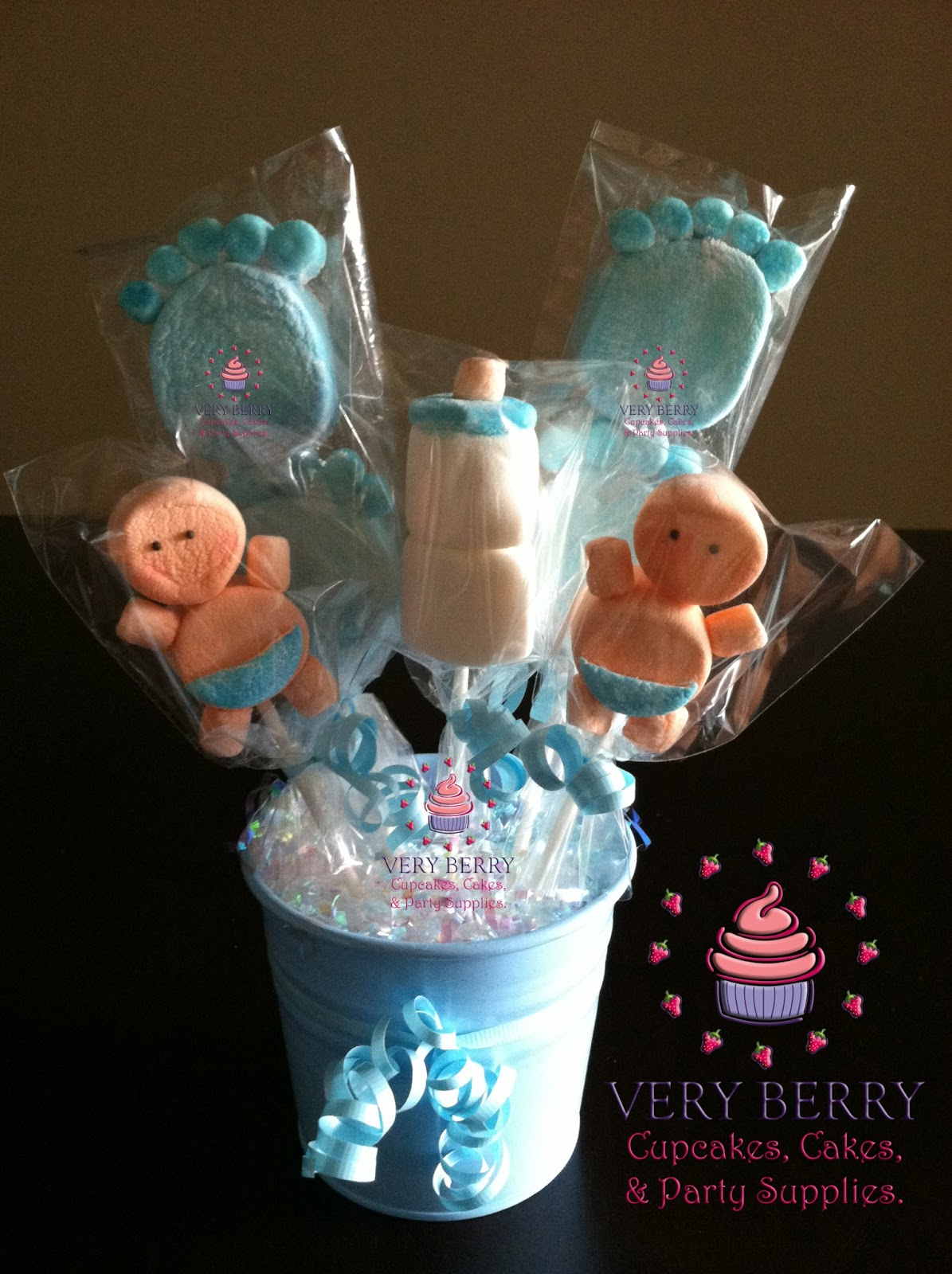 Veryberry cupcakes boy baby shower marshmallow centerpieces - Baby shower ideas for a boy centerpieces ...