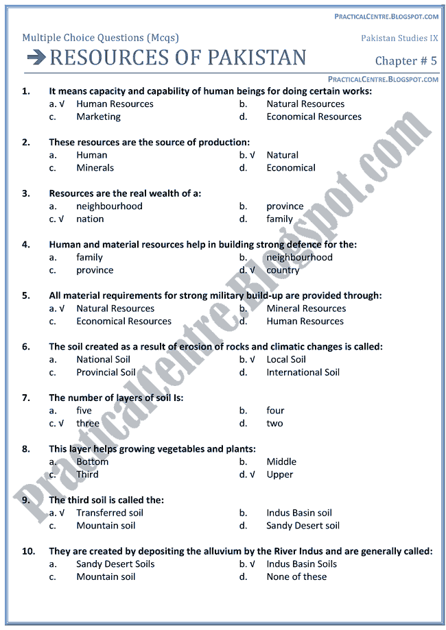 resources-of-pakistan-mcqs-pakistan-studies-9th