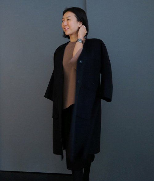 Belted Lapelless Coat