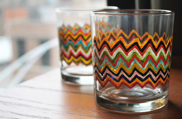 chevron glass paint DIY