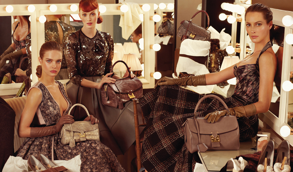 Karen Elson, Natalia Vodianova and Christy Turlington in Louis Vuitton Fall/Winter 2010 campaign photographed by Steven Meisel via fashioned by love british fashion blog