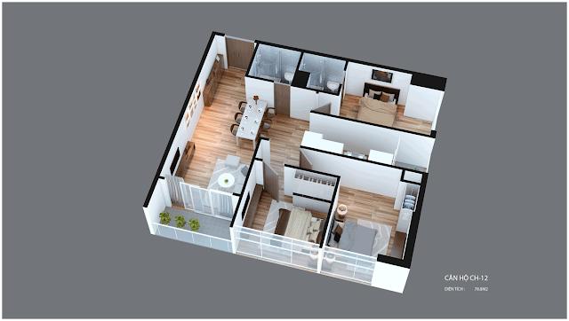 Mặt bằng căn hộ Imperia Garden CH12 78,8 m2
