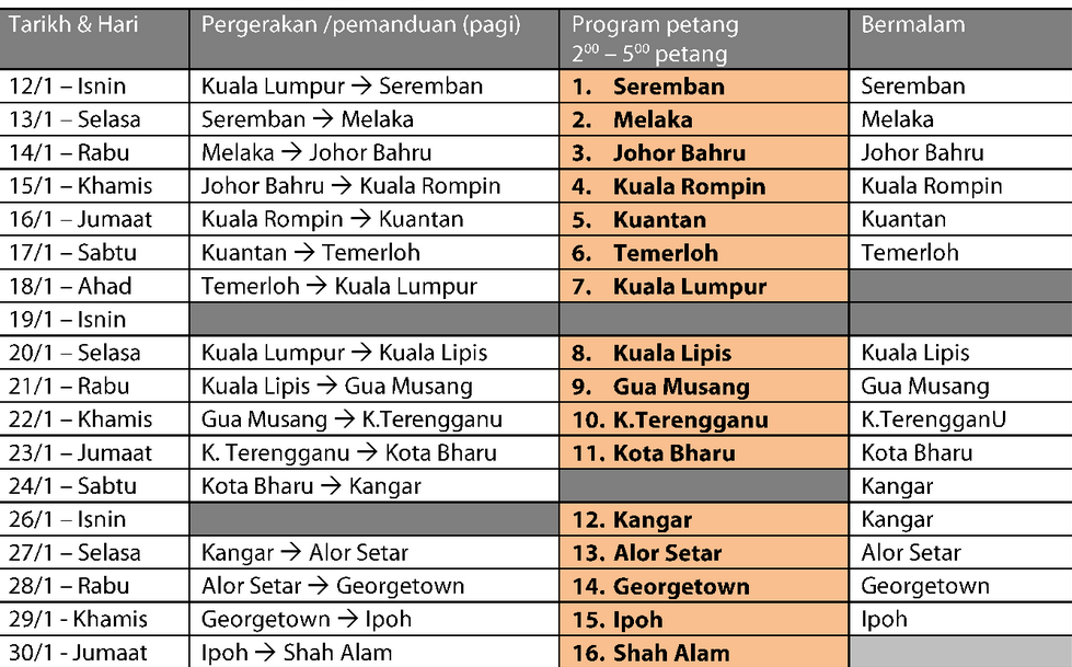 Jadual Program Kembara Halatuju SPM/ STPM 2015