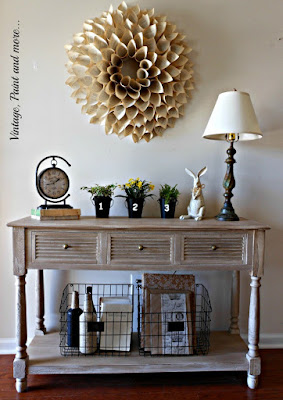 "Vintage, Paint and more... Spring entry featuring a book page wreath, vintage finds and crafted ""vintage"" items DIY'd on a budget"