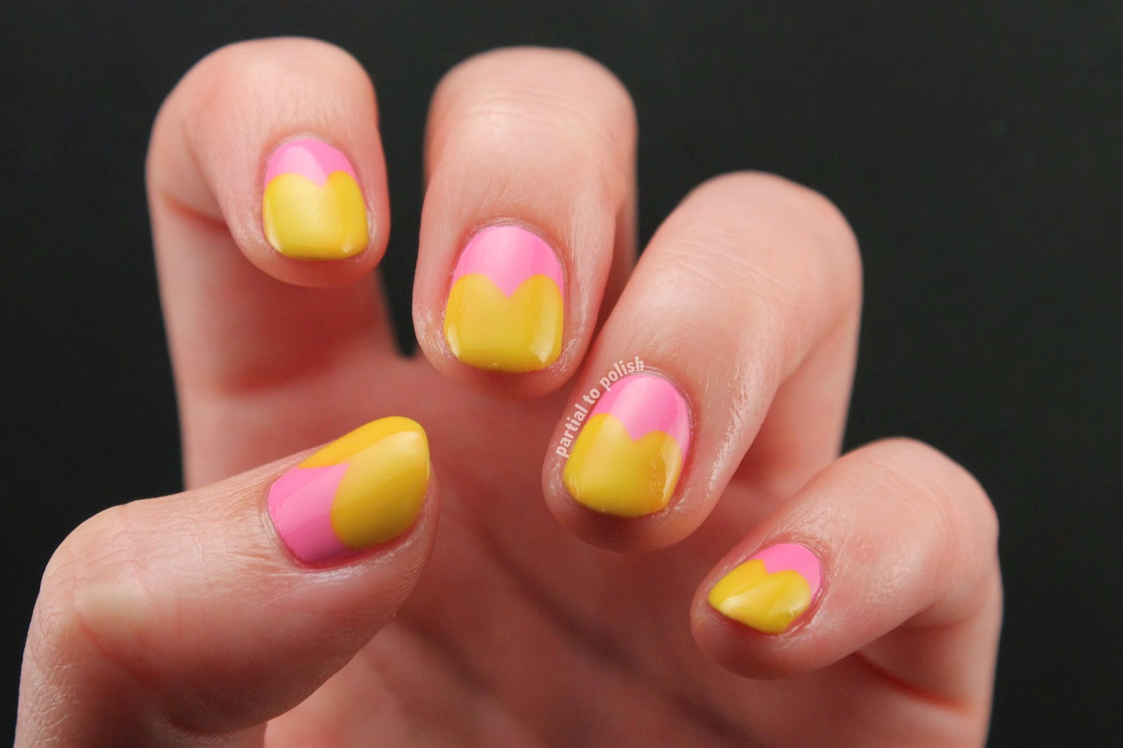 Pink and Yellow Half Moon Heart Nail Art