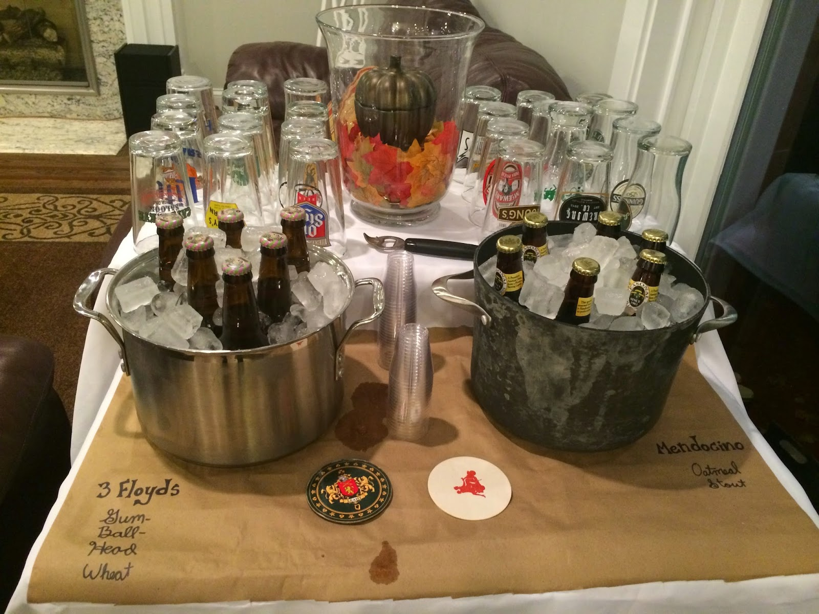 Kraft Paper and Fall Decorations- Beer Tasting