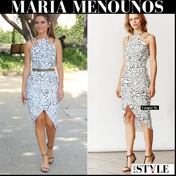 Maria Menounos in white geometric print midi dress from Cooper St outfit inspiration for events