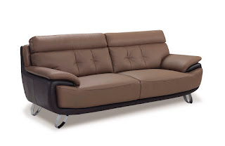 Tan-Brown Bonded Leather Sofa