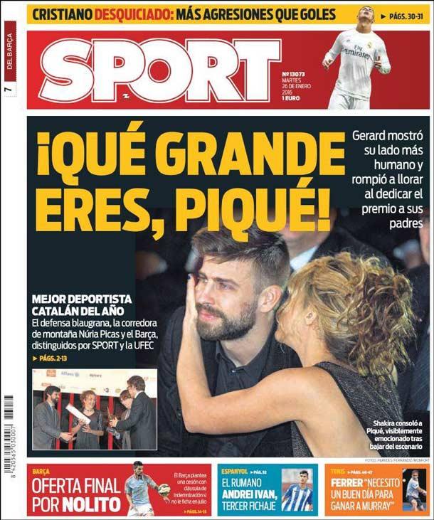Portada del periódico Sport, martes 26 de enero de 2016