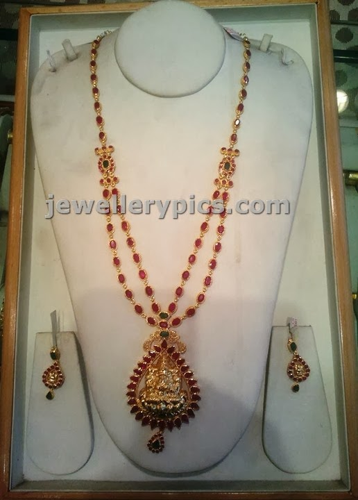 two step ruby long chain from sri mahalaksmi jewellers