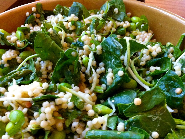 My SUPER GREEN cous cous salad.