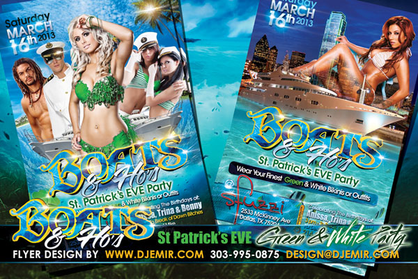 Boats And Ho's St Patrick's Day Green And White Boat Party Flyer Design