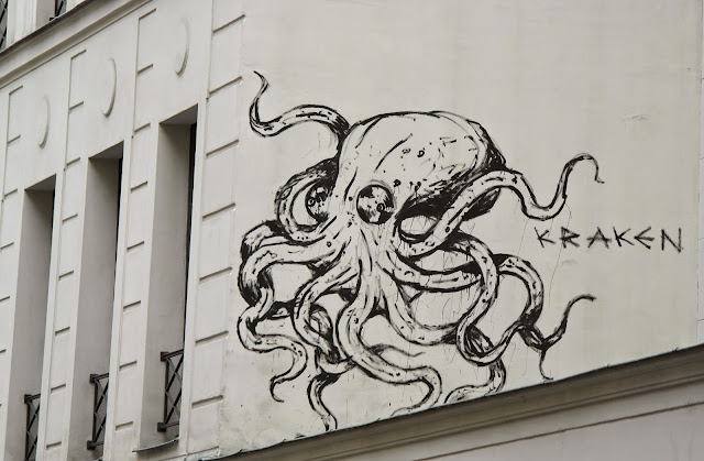 Paris street art graffiti Kraken octopus