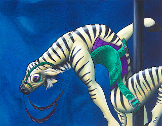 Carousel Zebra Acrylic Painting