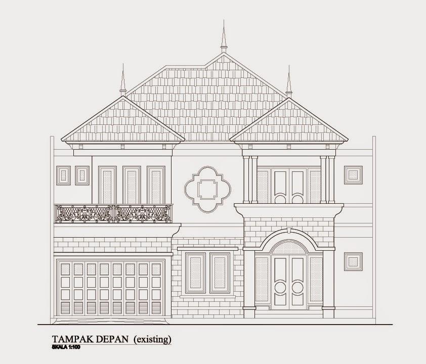 sketsa rumah tampak depan