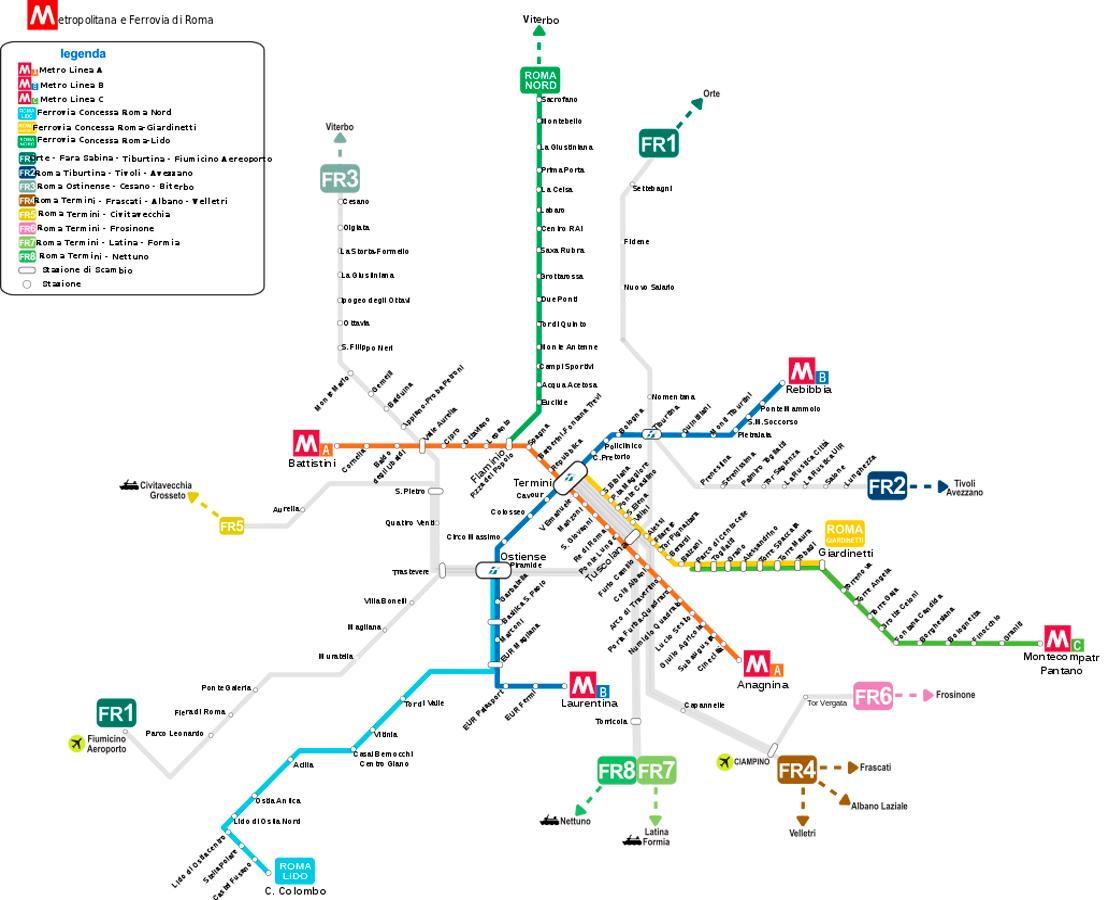 Рим схема метро на русском