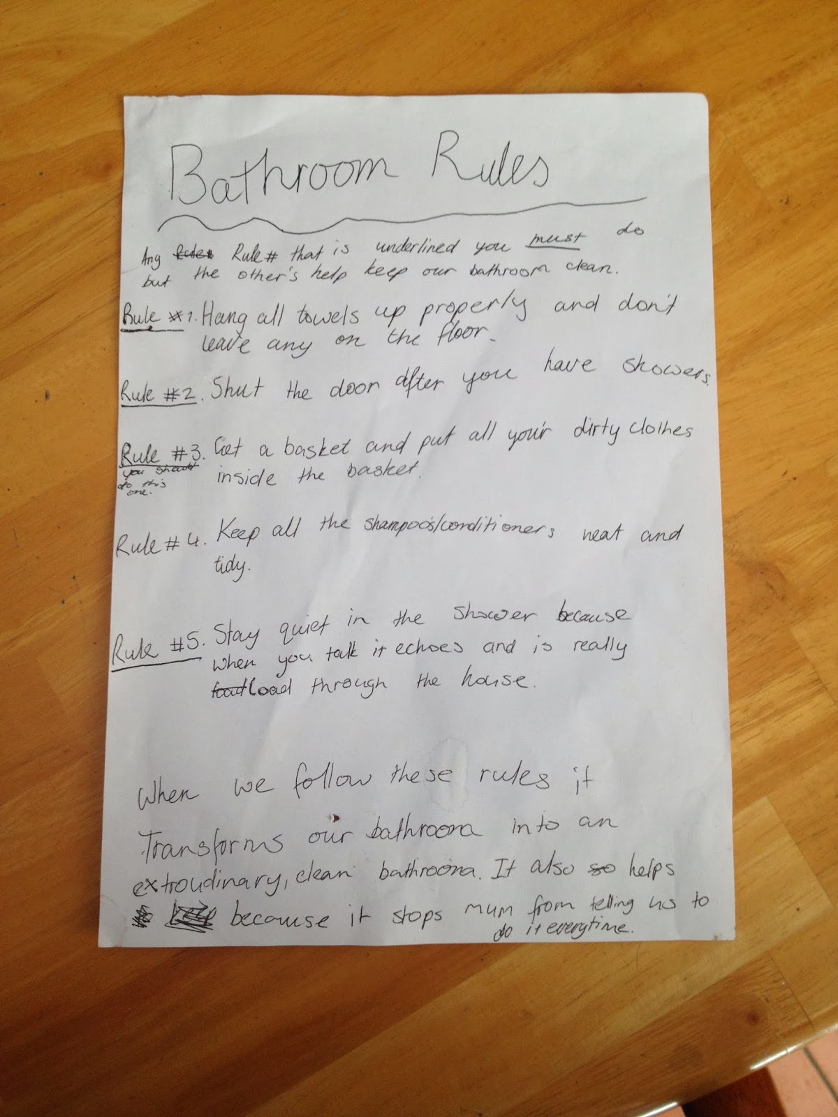 Childrens Bathroom Rules