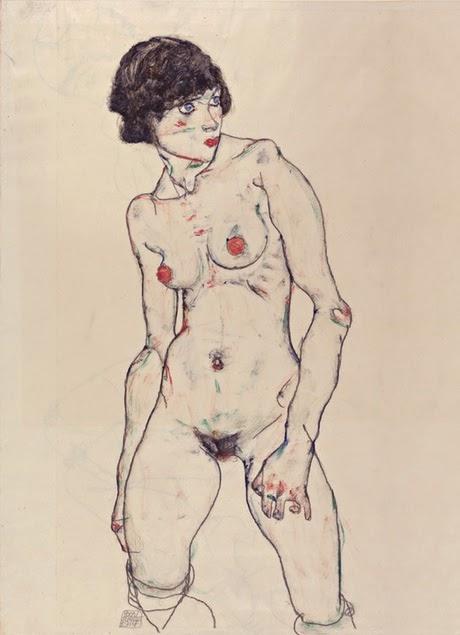 Egon Schiele - Nu debout avec bas,1914.