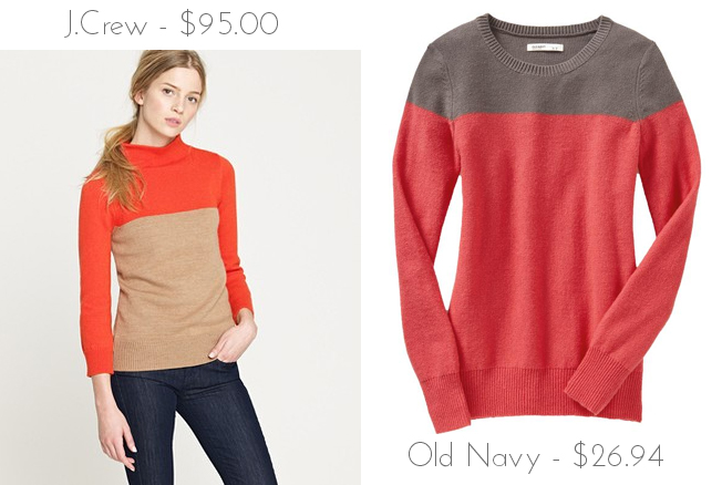 2f103f97ed5 Über Chic for Cheap  Look for Less  J.Crew Colorblock Minimalist Mockneck  Sweater