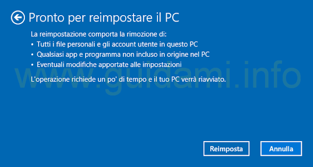 Windows 10 reimposta il PC rimuovendo i file personali