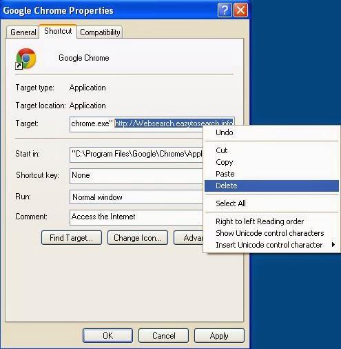 Malicious properties shortcut Websearch.eazytosearch.info