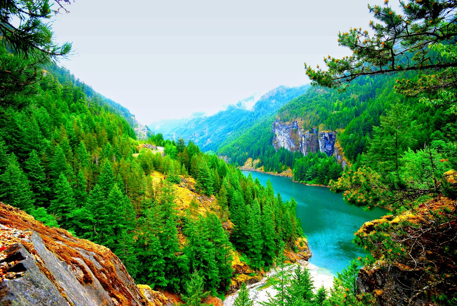 Hd wallpaper down - Mountain Hill Down River View Hd Wide