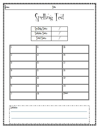 single word spelling test pdf