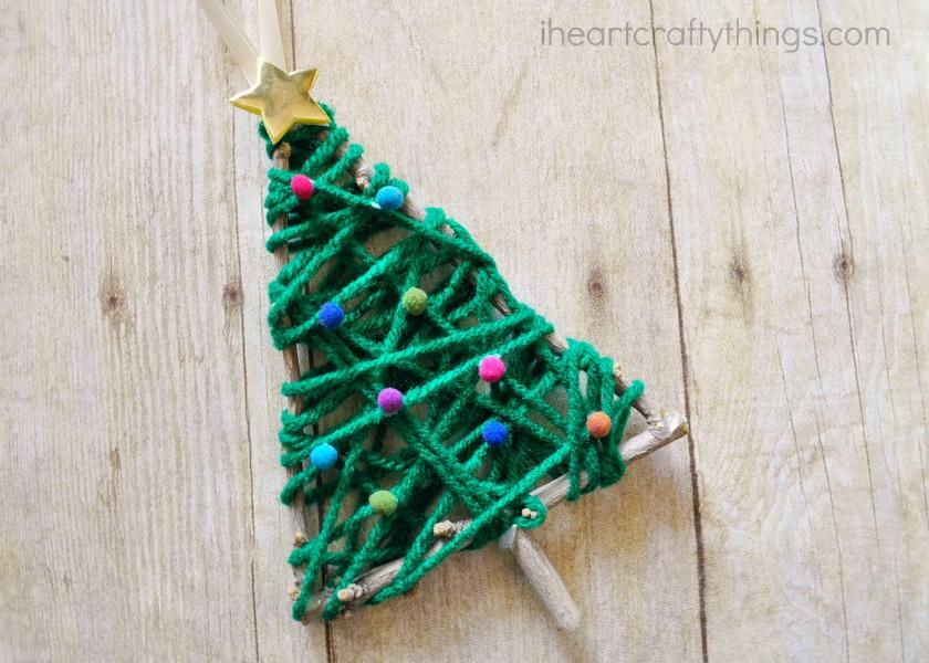 yarn wrapped christmas tree twig ornament - Ornament Christmas Tree