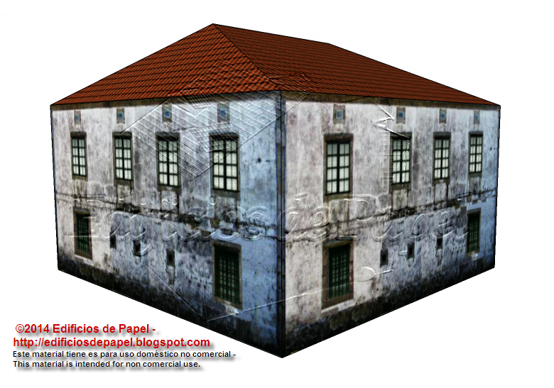 Side and back view of the country house paper model