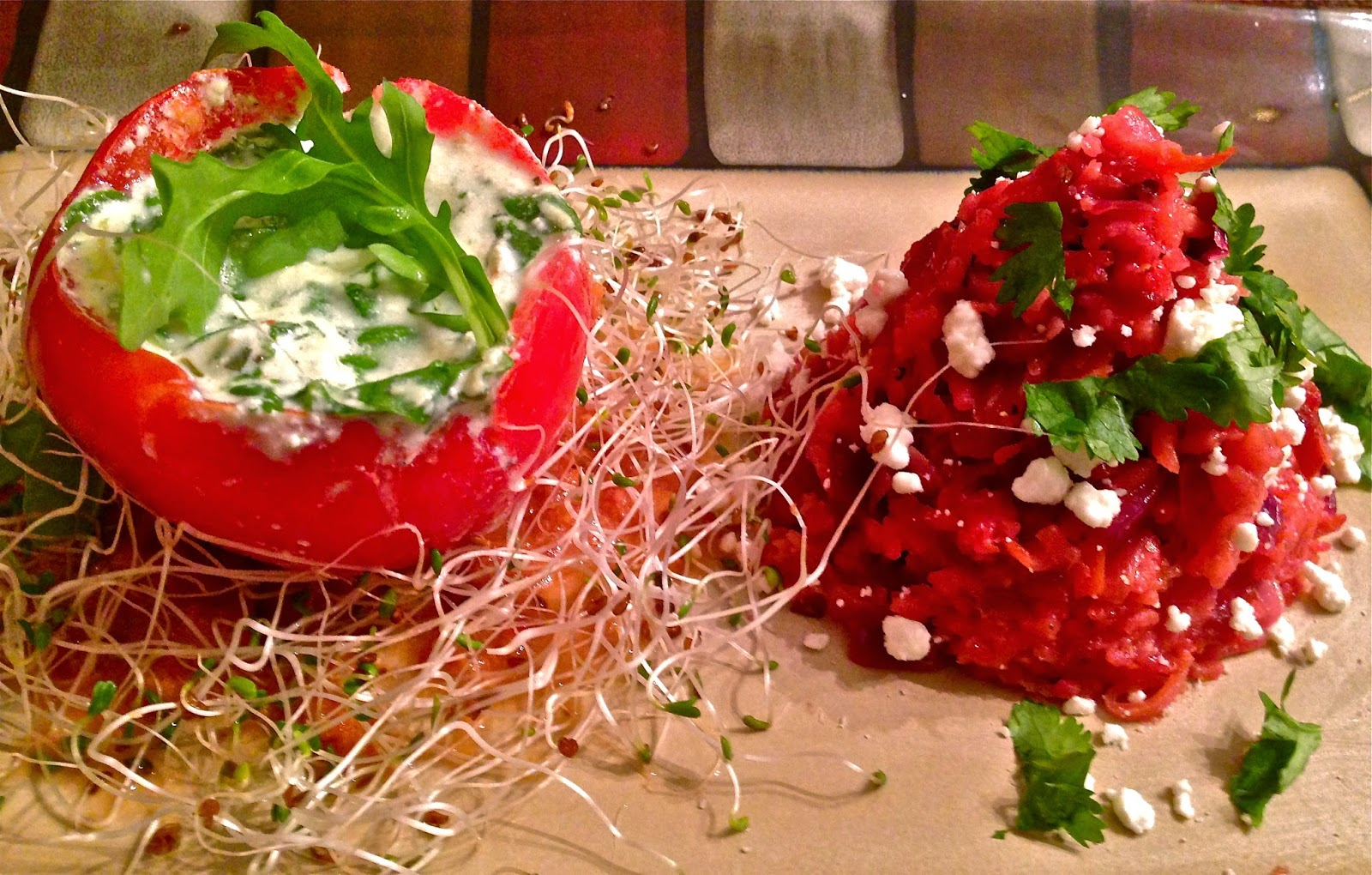 Spinach & Ricotta Stuffed Tomato with Beet & Cabbage Risotto