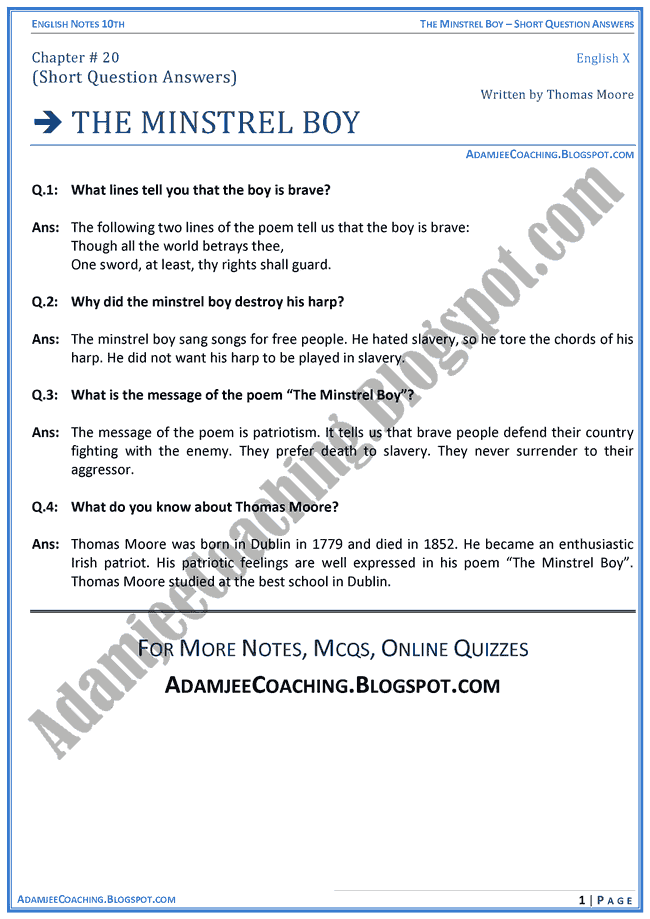 the-minstrel-boy-question-answers-english-x