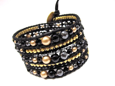 DIY Bracelet Tutorial: Vintage Gold Pearl Mix On Natural Black Leather (Chan Luu Women's Style Graduated 5 Wrap)