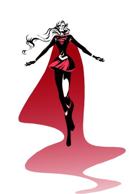 sho murase ilustrações singelas minimalistas espaço negativo mulheres super heroínas Supergirl