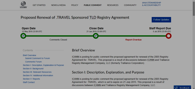 "screenshot showing ICANN Staff ""Report Overdue"" - .TRAVEL Registry Renewal"