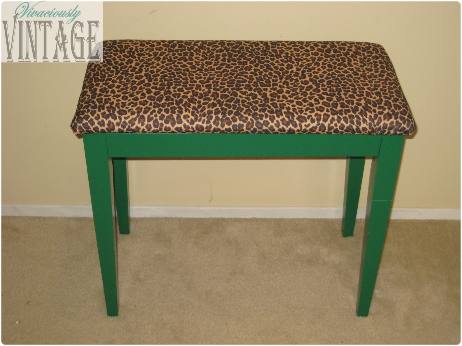 Ansley Designs Emerald Green Leopard Piano Bench