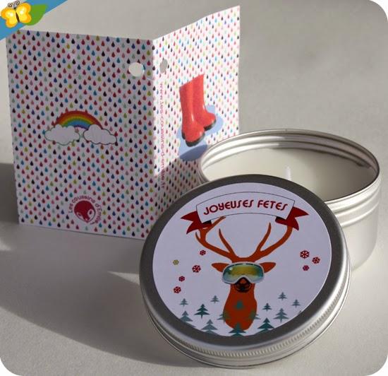 Bougie cerf Joyeuses fêtes personnalisable - Les coussins d'Émilie